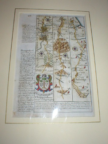 Image for Miniature Original Antique engraved map: strip road map of GLOCESTERSHIRE / SOMERSETSHIRE/ WILTSHIRE: strip road map on both sides: Marlborough - Chippenham -  Calne - Marshfield  - Bristol - Axbridge - Huntspil.  ( Gloucestershire) From: BRITANNIA DEPICTA.