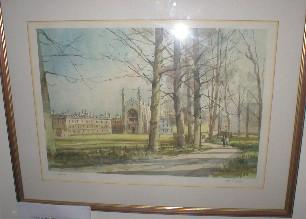 "Image for LARGE SIGNED LIMITED EDITION PRINT: ""SPRING MORNING, KING'S COLLEGE CHAPEL, CAMBRIDGE""."
