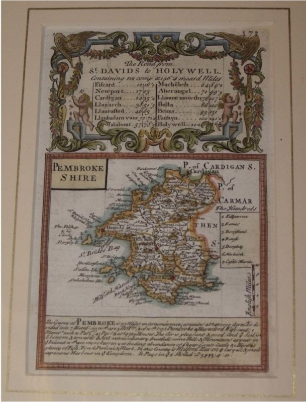 "Image for Attractive miniature Antique county map: PEMBROKESHIRE.  From: BRITANNIA DEPICTA. or ""Ogilby Improv'd""."