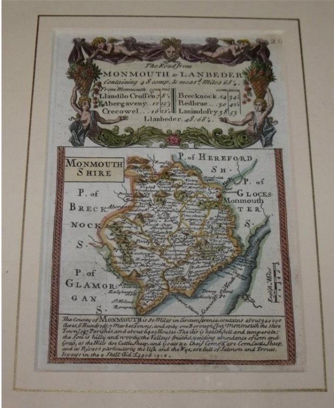 "Image for Attractive miniature Antique county map:  MONMOUTHSHIRE.  From: BRITANNIA DEPICTA. or ""Ogilby Improv'd""."