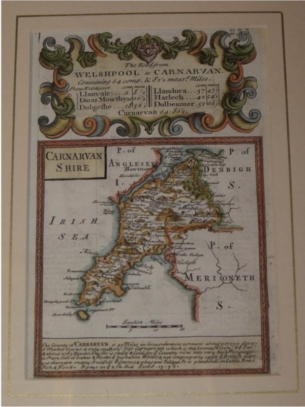 "Image for Attractive miniature Antique county map:  CARNARVANSHIRE.  From: BRITANNIA DEPICTA. or ""Ogilby Improv'd""."