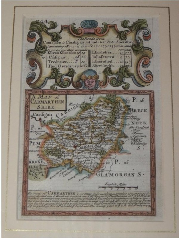 "Image for Attractive miniature Antique county map:  CARMARTHENSHIRE.  From: BRITANNIA DEPICTA. or ""Ogilby Improv'd""."