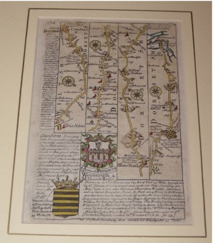 Image for Original engraved map: strip road map of DORSETSHIRE / HAMPSHIRE:  CRANBORN - DUNKTON - BLANDFORD - DORCHESTER - WEYMOUTH - BASINGSTOKE - BROUGHTON - STOCKBRIDGE. From: BRITANNIA DEPICTA.