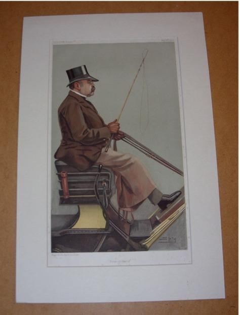 "Image for ORIGINAL LITHOGRAPH by SPY: BARON ADOLPH WILHELM DEICHMANN. ""Four-in-Hand"". 14/5/1903. (Carriages)"
