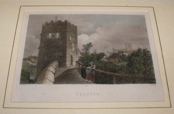 Image for Attractive original steel engraving of Chester.
