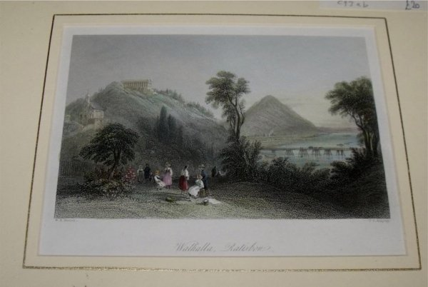 "Image for Attractive original steel engraving of Walhalla, Ratisbon. From ""The Beauties of the Bosphorus""."