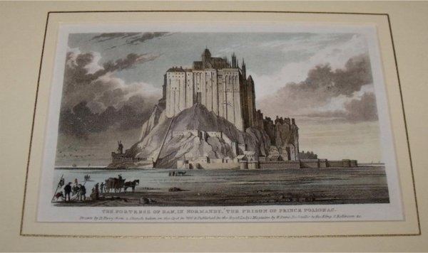 Image for Attractive original steel engraving of The Fortress of Ham in Normandy. The Prison of Prince Polignac. Drawn by B.Perry from an sketch taken on the spot in 1830 and published in the Royal Lady's Magazine by W.Sams, Booksellers to the King.