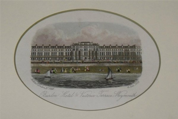 Image for Attractive original steel engraving of Weymouth. Burdon Hotel and Victoria Terrace. 4 June 1860.