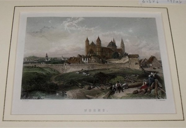 Image for Attractive original steel engraving of cathedral at Worms.