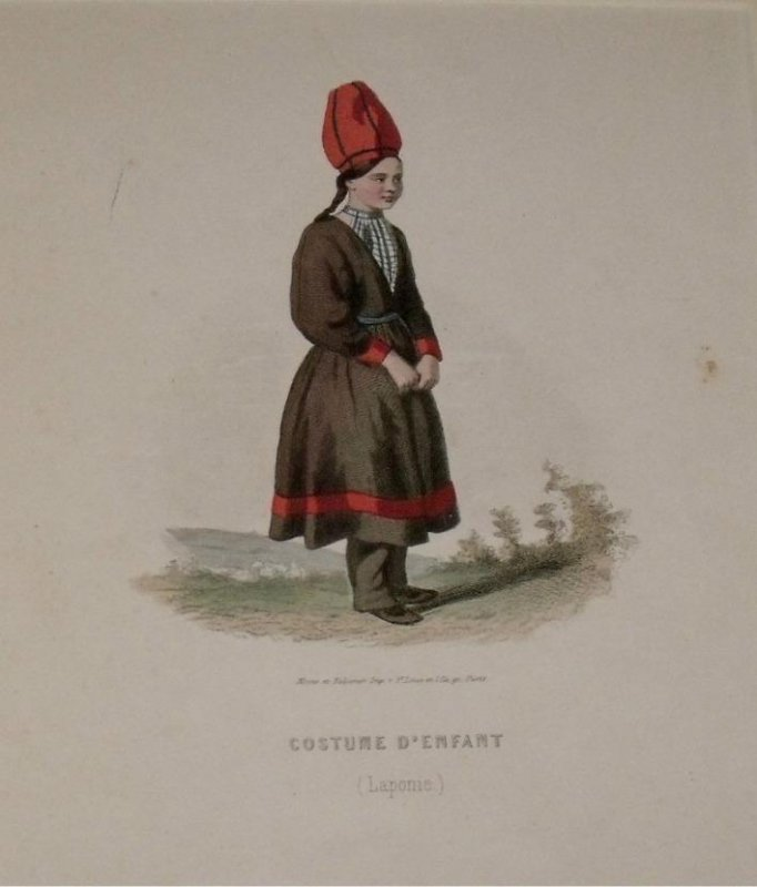 Image for Attractive original engraving of Costume D'Enfant (Laponie). Child's costume, Lapland.