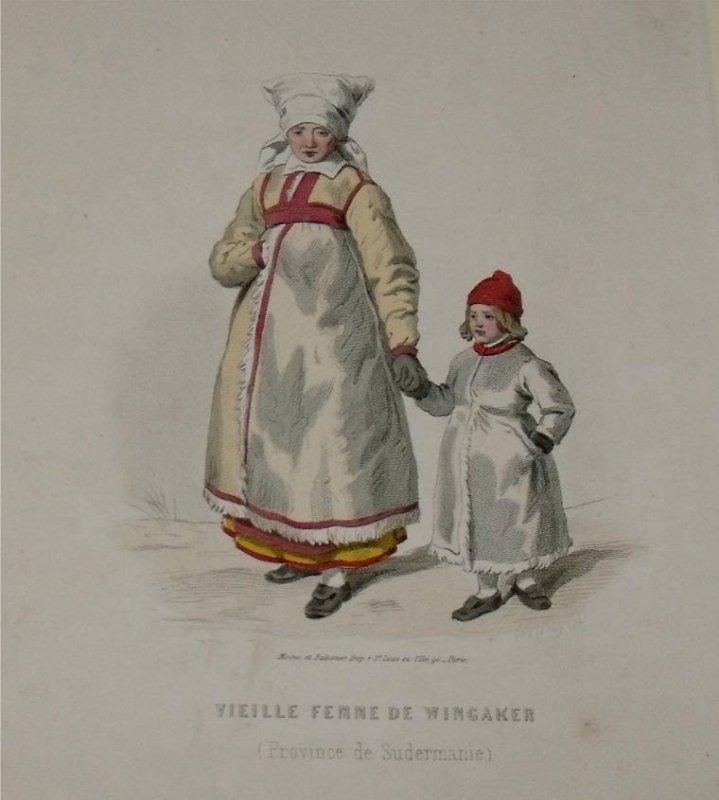Image for Attractive original engraving of Vielle Femme de Wingaker. (Province de Sudermanie) Old Woman from Wingaker. Province of Södermanland.
