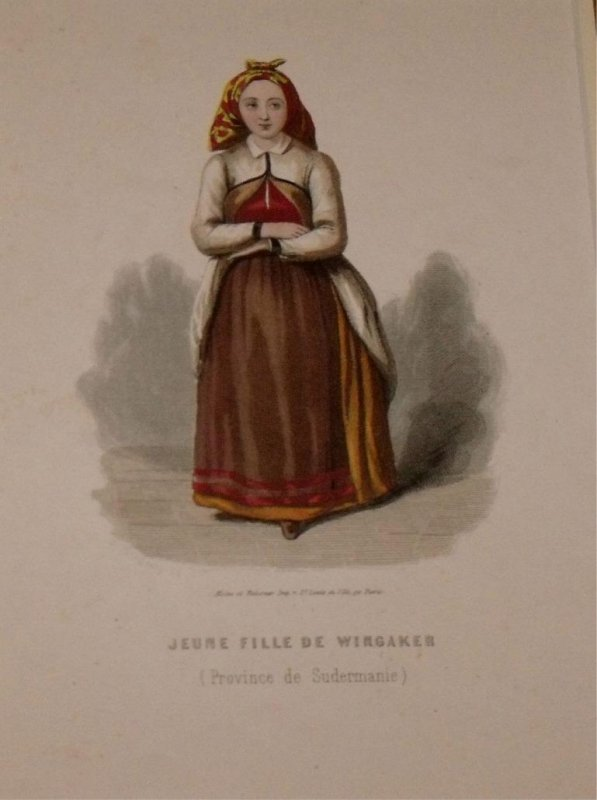 Image for Attractive original engraving of Jeune Fille de Wingaker. (Province de Sudermanie) Young Girl from Wingaker. Province of Södermanland.