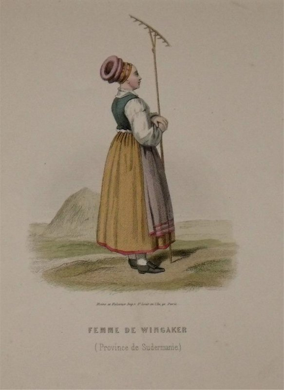 Image for Attractive original engraving of Femme de Wingaker. (Province de Sudermanie) Woman from Wingaker. Province of Södermanland.