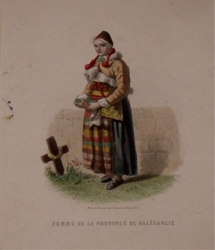 Image for Attractive original engraving of Femme de la Province de Dalecarlie. Woman from the Province of Dalecarlia (Dalarna).