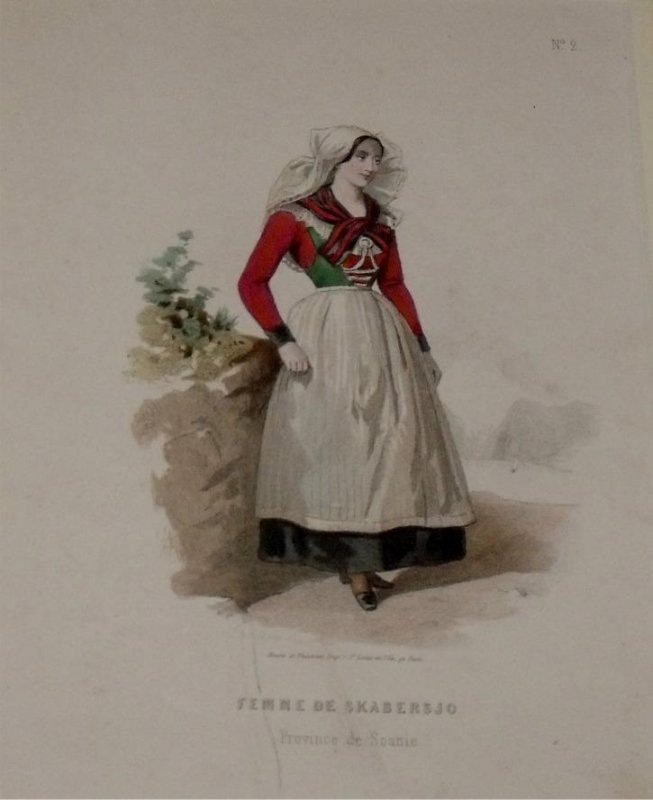 Image for Attractive original engraving of Femme de Skabersjo. (Province de Scanie). Woman from Skabersjo in the Province of Scanie.