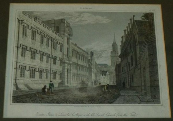 Image for Exeter, Jesus and Lincoln Colleges with All Saints Church from the Turl. Engraved by J.Skelton from the original by J.Basire. For the year 1806. Pl.106.