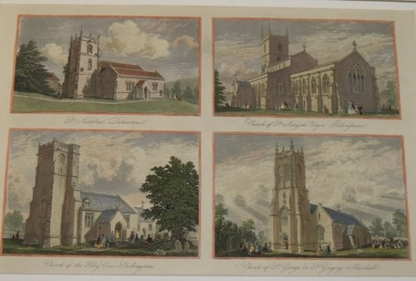 Image for Durweston, Gillingham, Shillingston, Marnhull. Dorset. The churches of St.Nicholas's, Durweston; St Mary the Virgin, Gillingham; The Holy Cross, Shillingston; St.Gregory, Marnhull. Four prints on one sheet.