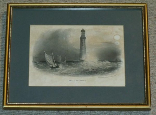 Image for The Eddystone. Original engraving of The Eddystone Lighthouse.