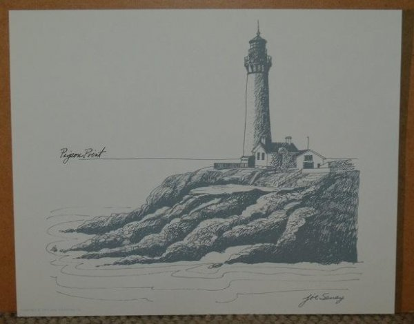 Image for A Selection of California Lighthouse Drawings: from Discovering the California Coast, A Sunset Pictorial. From Moments from the P & O Poster Collection sir Jeffrey Sterling.