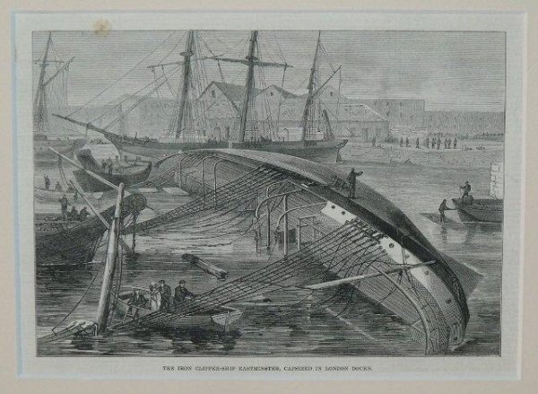 Image for The Iron Clipper-Ship Eastminster, Capsized In London Docks.