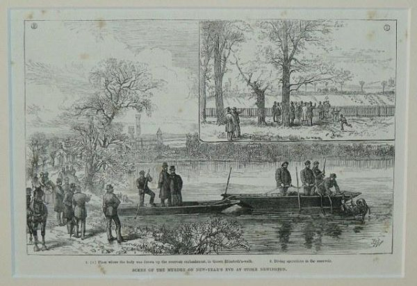 Image for Scene Of The Murder On New-Year's Eve At Stoke Newington 1. Place where the body was drawn up the reservoir embankment, in Queen Elizabeth's-walk. 2. Diving operations int the reservoir.