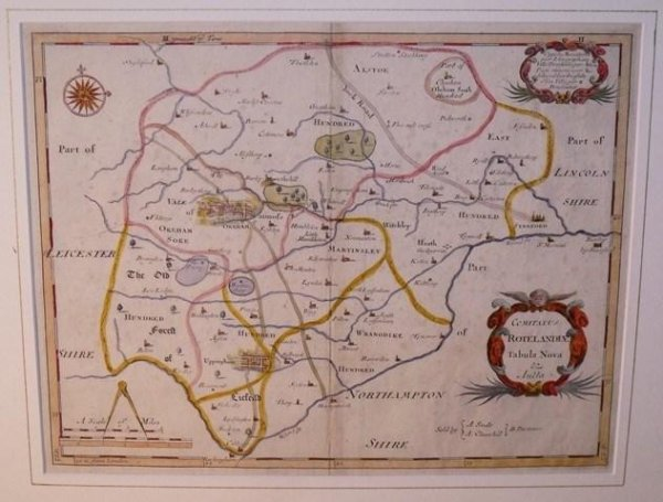 Image for ORIGINAL ENGRAVED ANTIQUE MAP OF RUTLAND. Comitatus ROTELANDIAE Tabula Nova. From CAMDEN's Britannia.