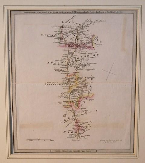 Image for Original Engraved Map of the Road to the Lake of Lancster, Westmoreland, & Cumberland, as far as Hinckley & Leicester. ROADS MEASURED FROM HICKS'S HALL.