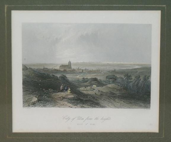 Image for Attractive original steel engraving of City of Ulm from the heights.