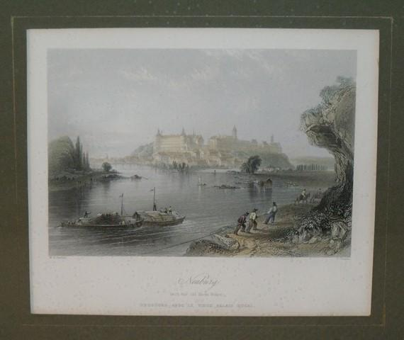 Image for Attractive original steel engraving of Neubourg. (With the old ducal Palace.)