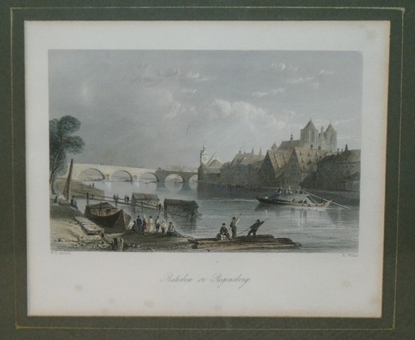 Image for Attractive original steel engraving of Ratisbon Regensberg.