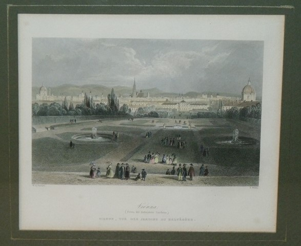 Image for Attractive original steel engraving of Vienna. (from the Belvidere Gardens.)