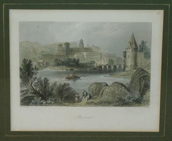 Image for Attractive original steel engraving of Passau.