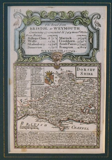 Image for Original Engraved Antique Map of Dorsetshire. Map of Dorset on one side and road map from Gloucester to Worcester on reverse.