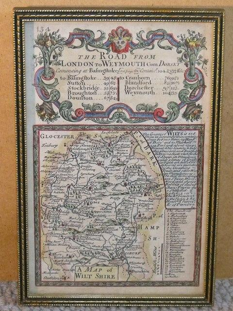 "Image for Miniature Antique county map: WILTSHIRE.  From: BRITANNIA DEPICTA. or ""Ogilby Improv'd"". With ribbon map on reverse."