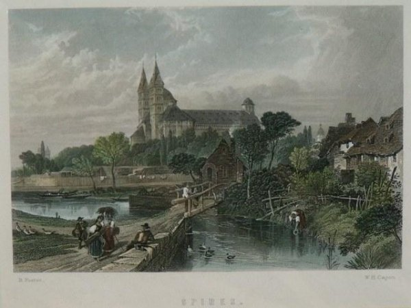 Image for Original steel engraving of 'Spires'. Steel engraving ca 1840.