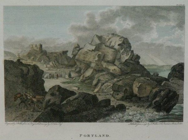 Image for Portland. Engraved view of Portland with Rufus castle in background. Published June 15 1796 by J.Walker 16 Rosomans Street London.