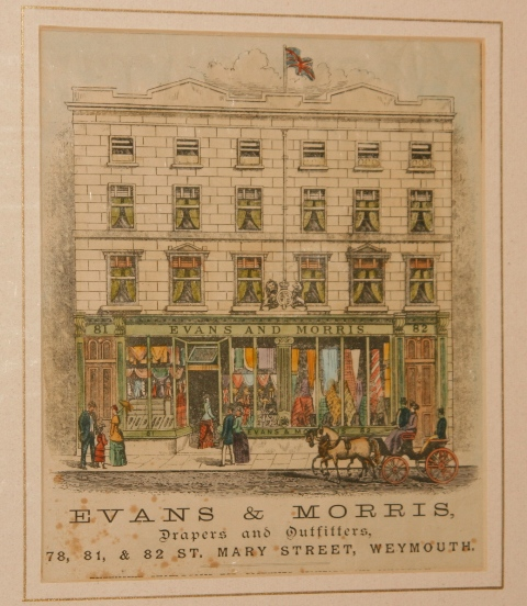 Image for Evans and Morris shop front. Evans and Morris, Drapers and Outfitters, 78, 81 and 82, St.Mary Street, Weymouth.