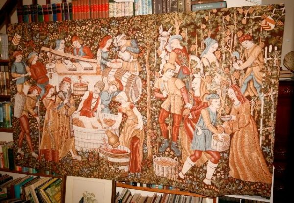 Image for A Large Wall Hanging Tapestry Which Depicts Grape Harvesting