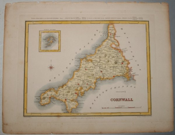 "Image for ORIGINAL ENGRAVED  MAP OF Cornwall. Engraved for LEWIS's  ""Topographical Dictionary"" and drawn by R. Creighton. From: ""AN ATLAS comprising Maps of the Several Counties, divided into Unions….""."