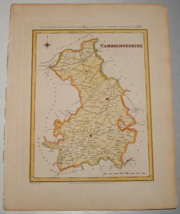"Image for ORIGINAL ENGRAVED  MAP OF Cambridgeshire. Engraved for LEWIS's  ""Topographical Dictionary"" and drawn by R. Creighton. From: ""AN ATLAS comprising Maps of the Several Counties, divided into Unions….""."