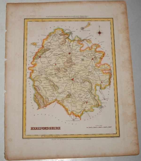"Image for ORIGINAL ENGRAVED  MAP OF Herefordshire. Engraved for LEWIS's  ""Topographical Dictionary"" and drawn by R. Creighton. From: ""AN ATLAS comprising Maps of the Several Counties, divided into Unions….""."