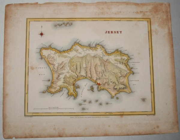 "Image for ORIGINAL ENGRAVED  MAP OF Jersey. Engraved for LEWIS's  ""Topographical Dictionary"" and drawn by R. Creighton. From: ""AN ATLAS comprising Maps of the Several Counties, divided into Unions….""."