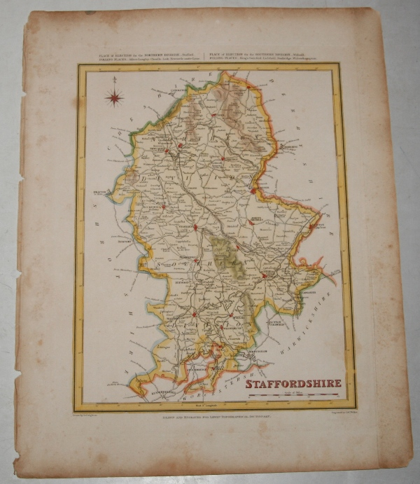 "Image for ORIGINAL ENGRAVED  MAP OF Staffordshire. Engraved for LEWIS's  ""Topographical Dictionary"" and drawn by R. Creighton. From: ""AN ATLAS comprising Maps of the Several Counties, divided into Unions….""."