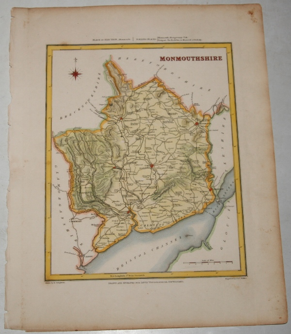"Image for ORIGINAL ENGRAVED  MAP OF Monmouthshire. Engraved for LEWIS's  ""Topographical Dictionary"" and drawn by R. Creighton. From: ""AN ATLAS comprising Maps of the Several Counties, divided into Unions….""."