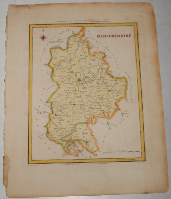 "Image for ORIGINAL ENGRAVED  MAP OF Bedfordshire. Engraved for LEWIS's  ""Topographical Dictionary"" and drawn by R. Creighton. From: ""AN ATLAS comprising Maps of the Several Counties, divided into Unions….""."