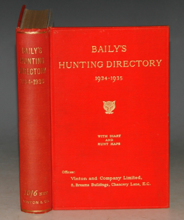 Image for Baily's Hunting Directory 1934-1935 With Diary and Hunt Maps. Official Register of Winners, with meetings, and placed Horses, at Point-to-Point Races, 1934.