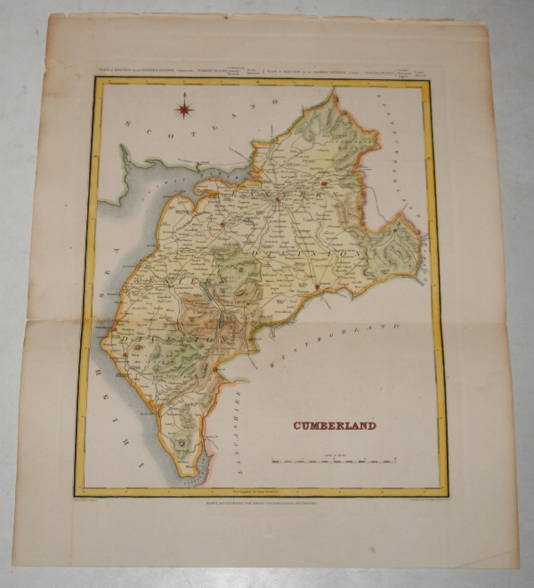 "Image for ORIGINAL ENGRAVED  MAP OF Cumberland. Engraved for LEWIS's  ""Topographical Dictionary"" and drawn by R. Creighton. From: ""AN ATLAS comprising Maps of the Several Counties, divided into Unions….""."