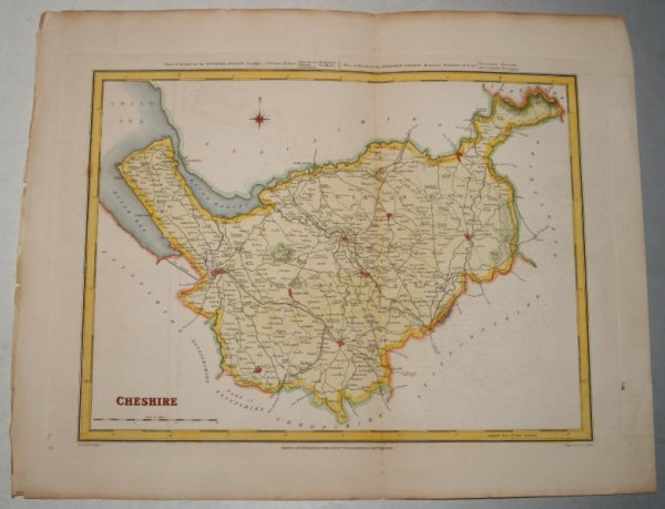"Image for ORIGINAL ENGRAVED  MAP OF Cheshire. Engraved for LEWIS's  ""Topographical Dictionary"" and drawn by R. Creighton. From: ""AN ATLAS comprising Maps of the Several Counties, divided into Unions….""."