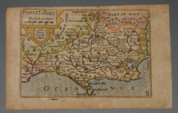 "Image for AN ORIGINAL Miniature ENGRAVED MAP OF DORSETSHIRE ( Dorset ). So called ""Mini Speed""."