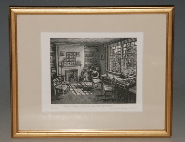 Image for Thomas Hardy's Study at Max Gate, Dorchester. Framed Limited Edition Numbered Engraving.